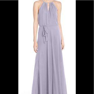 Nouvelle Amsale halter keyhole chiffon gown sz M